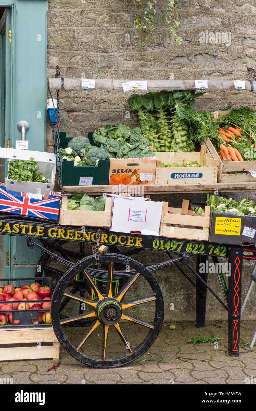 Greengrocers cart display, Britain, UK - Stock Image
