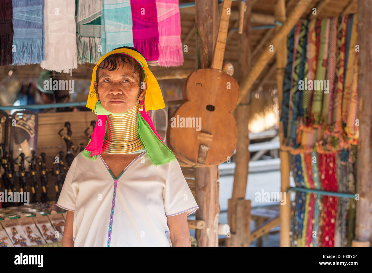 Karen long neck people in northern Thailand - Stock Image