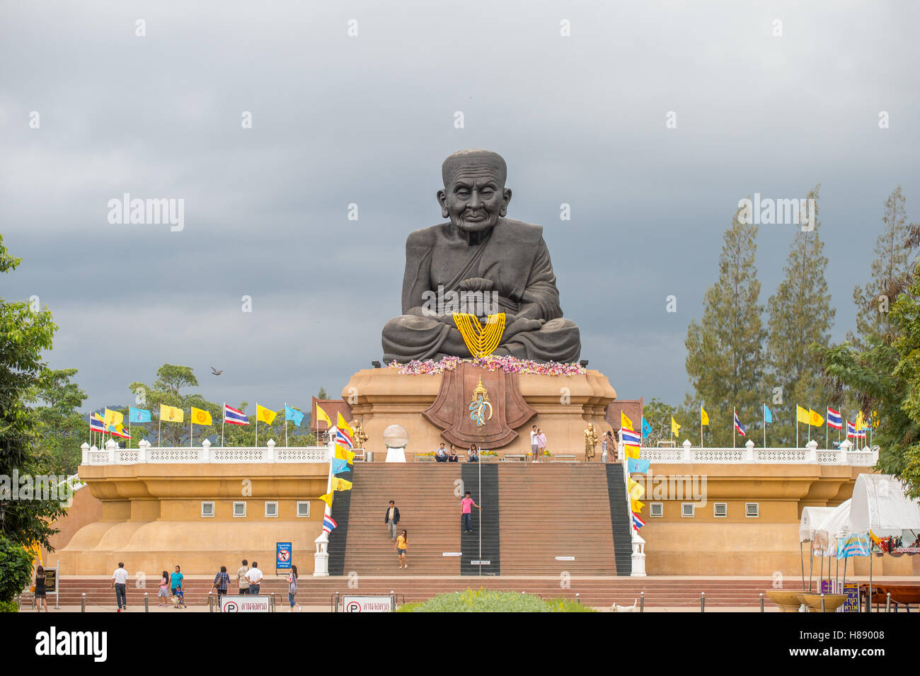 Sculpture of revered Buddhist monk Luang Pu Thuat at Wat Huay Mongkol in Hua Hin Thailand - Stock Image