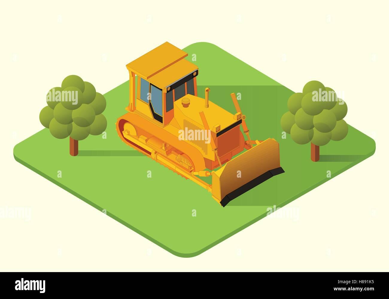 bulldozer heavy machine vector - Stock Vector