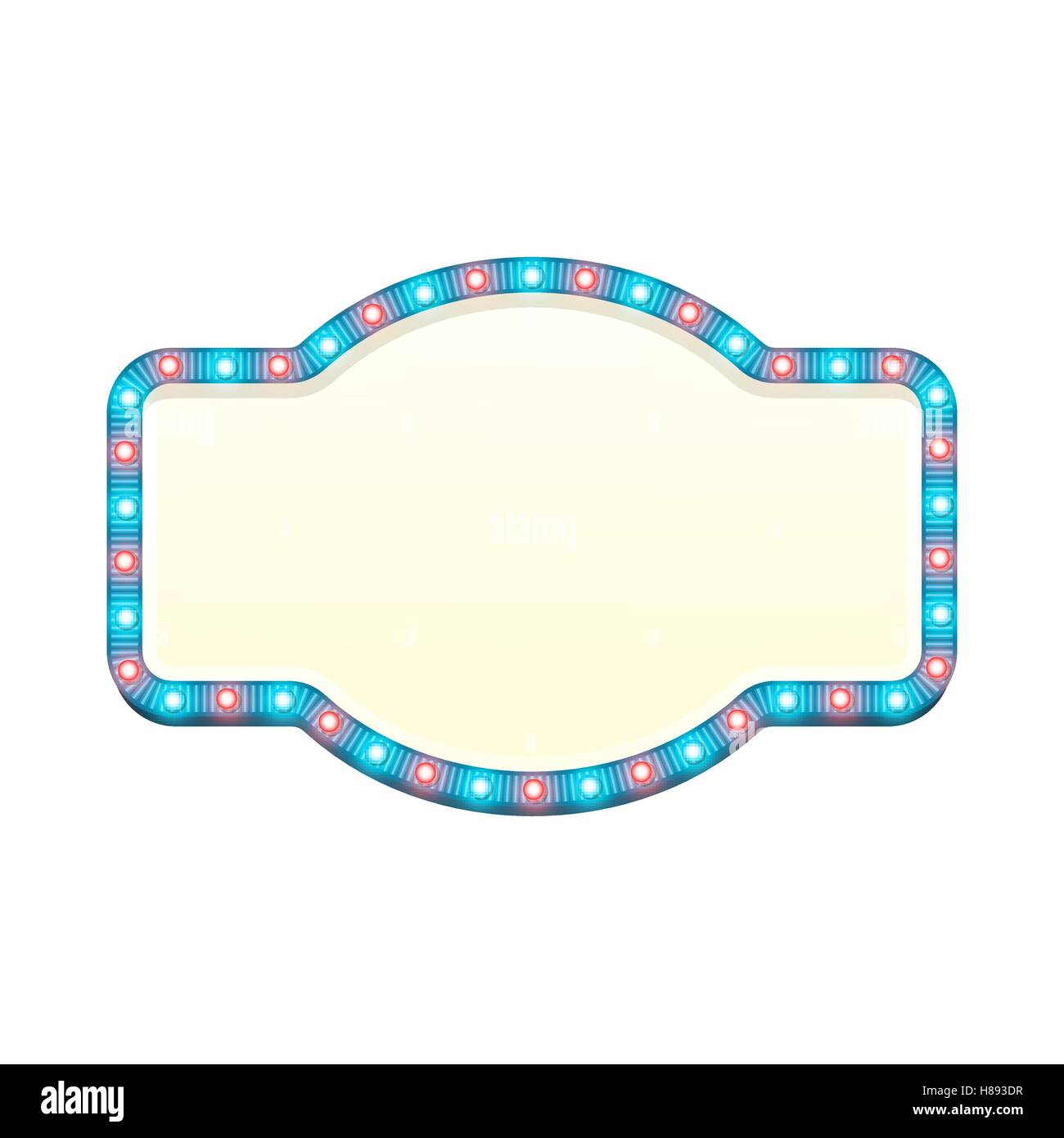 Blank 3d retro light banner with shining bulbs. Blue sign with blue and red lights and blank space for text. Vintage - Stock Image