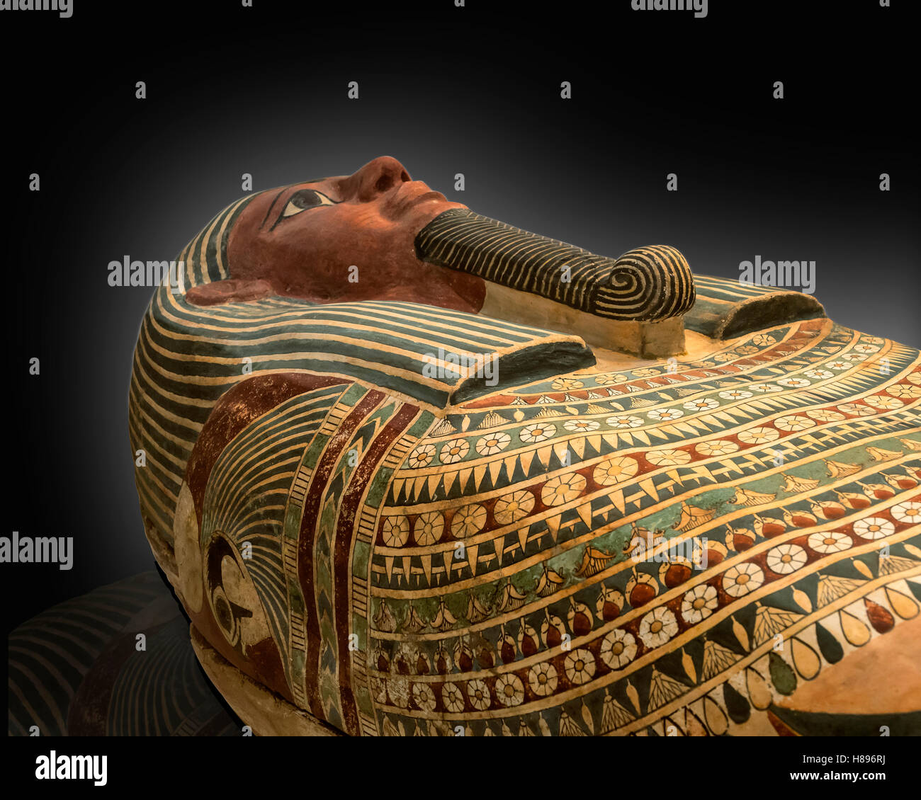 The coffin of Amunred.Egyptian,from Heracleopolis.Third intermediate-Late Period,Dynasty 25 -26. Stock Photo