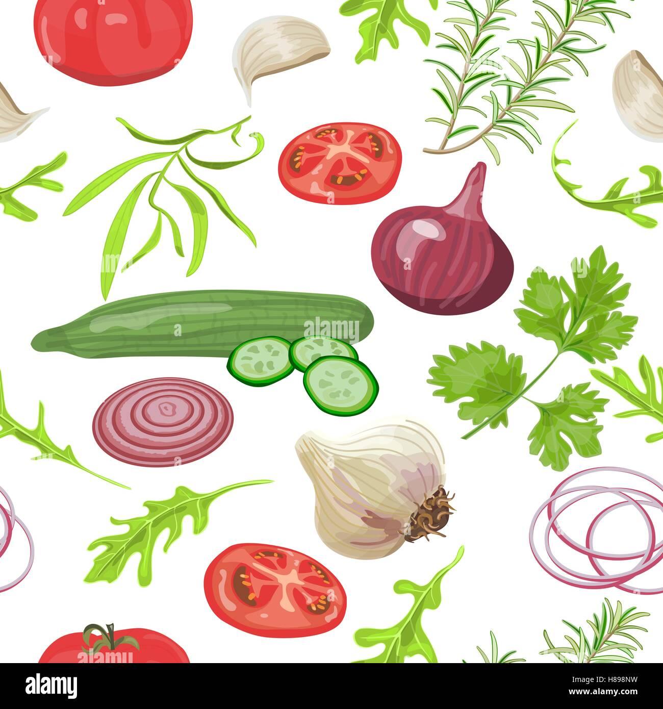 Seamless pattern herbs and vegetables. Tomato, cucumber, onion, garlic, parsley arugula Vector illustration - Stock Vector