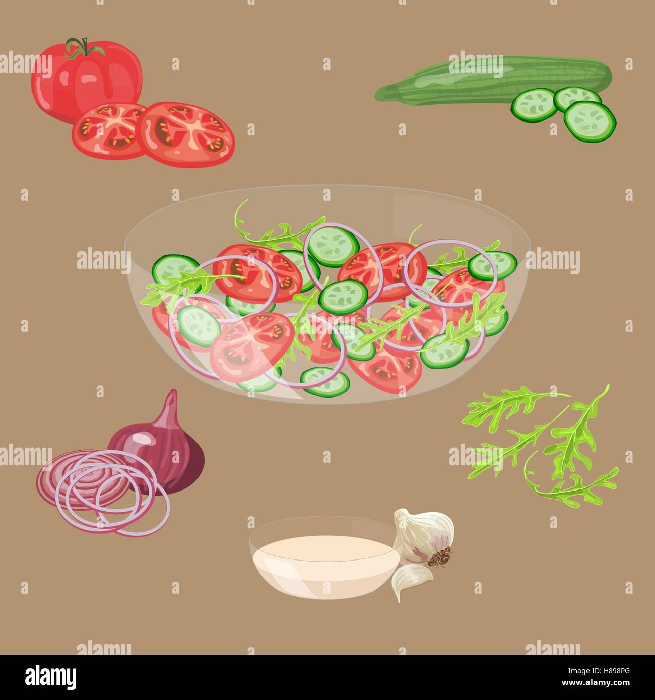 Bowl with fresh vegetables salad. Tomato, cucumber, onion, garlic, arugula. Vector illustration. EPS10. - Stock Vector