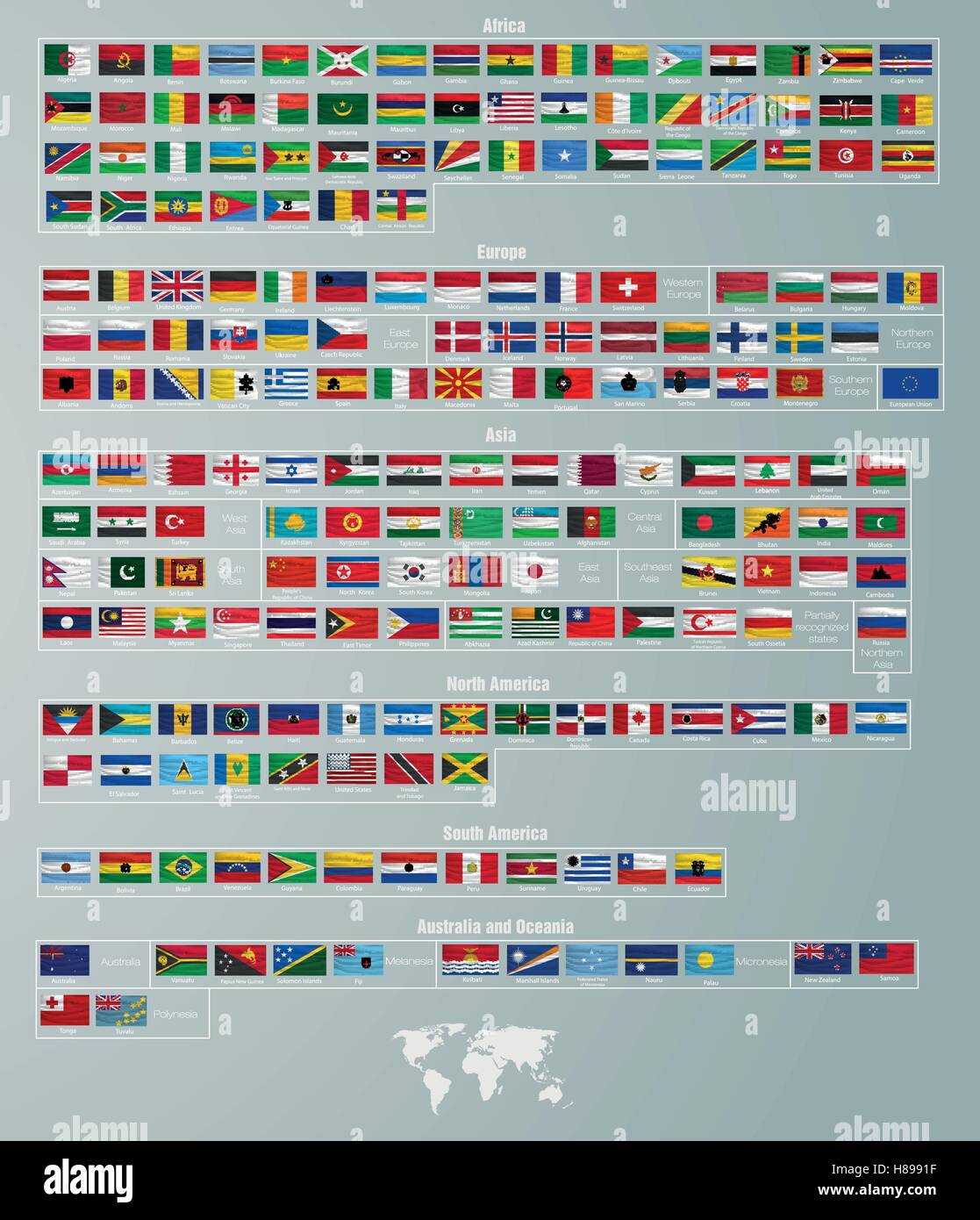 flags of countries divided by parts of the world - Stock Image