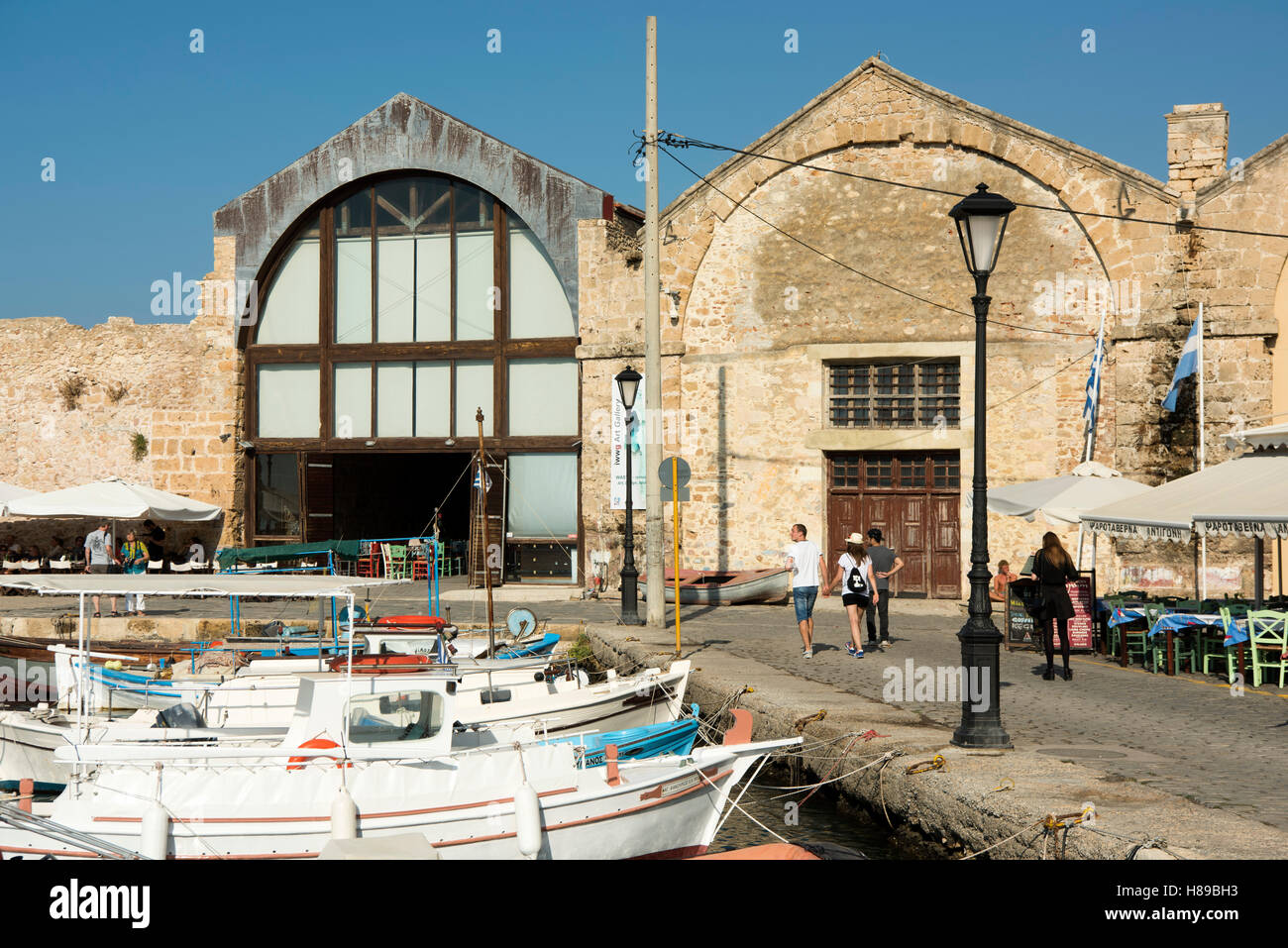 Greece, Crete, Chania, Moro Shipyard at the eastern end of the harbour Stock Photo