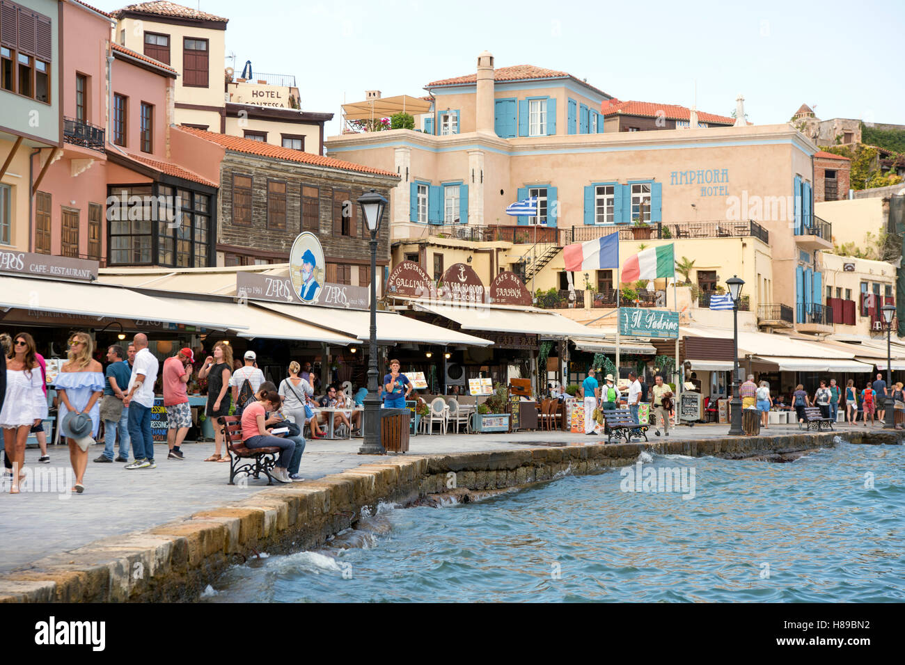 Greece, Crete, Chania, Venetian Port, Promenade to the western end of the harbour - Stock Image