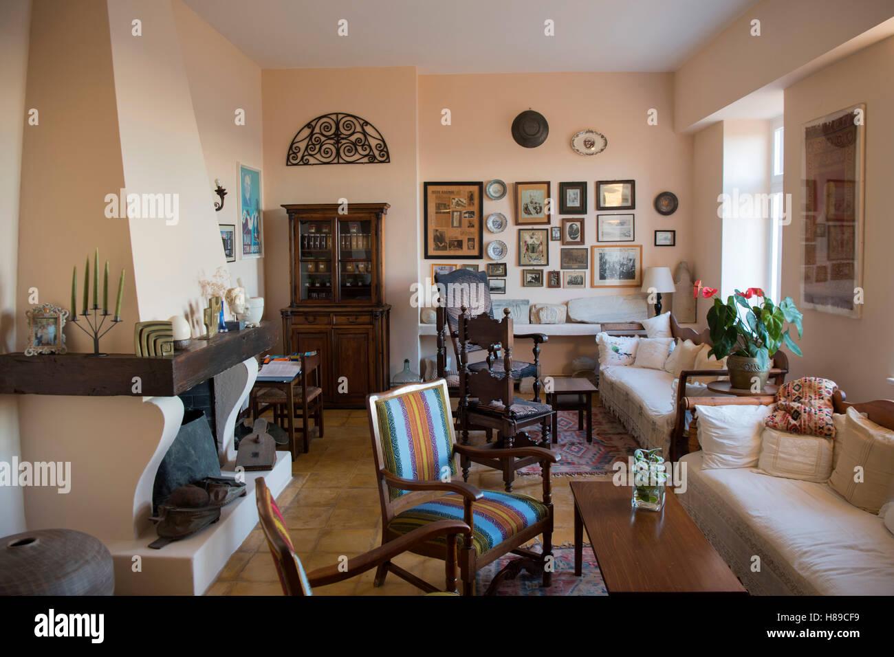 Griechenland, Kreta, Chania, Lobby im Hotel Doma. Das Herrenhaus im klassizistischen Stil war einmal Britische Botschaft, - Stock Image