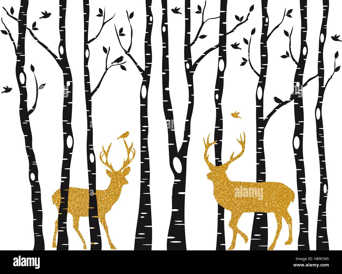 Christmas card with golden reindeer in birch trees forest on white backround, vector illustration - Stock Vector