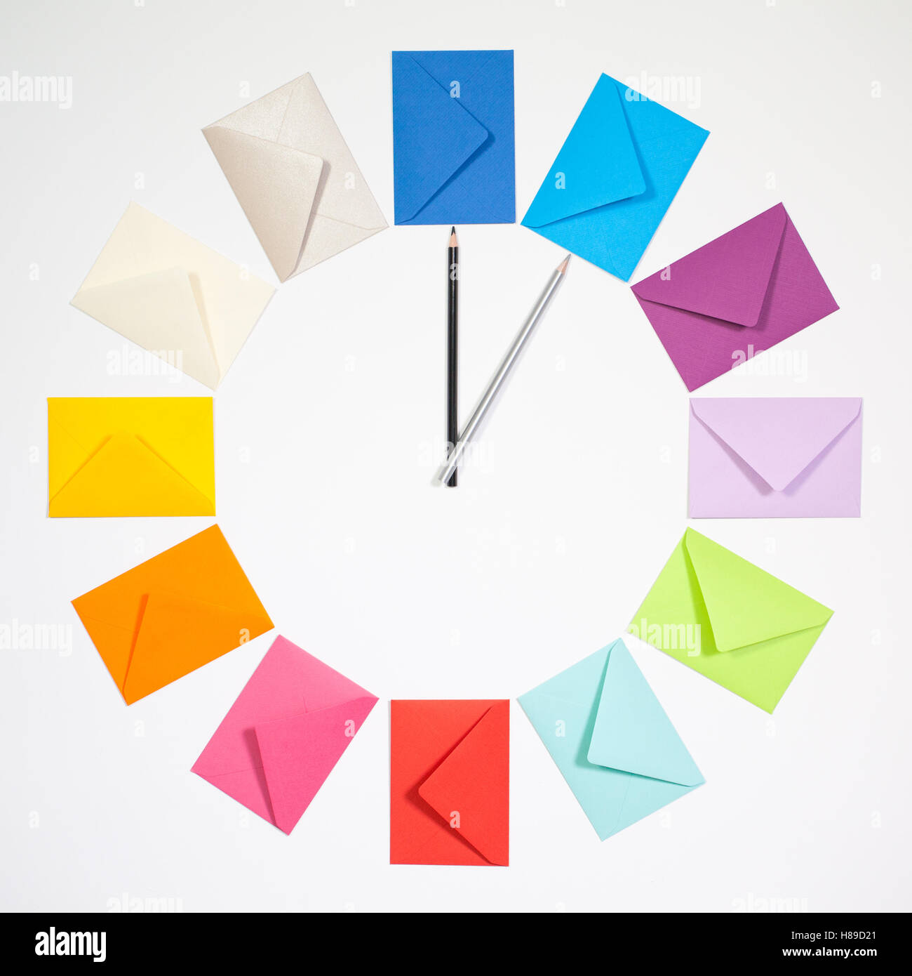twelve envelopes isolated on white background clock of colored
