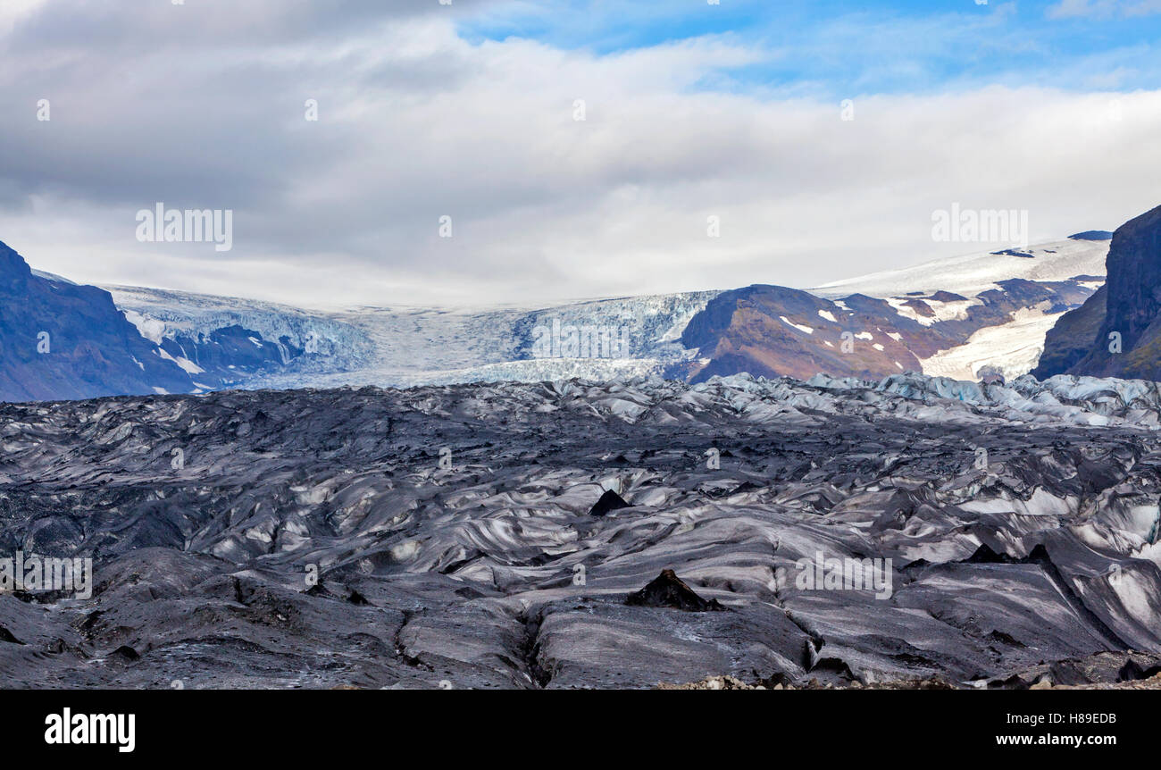 A view of a section of the Skaftafell Glacier in Skaftafell National Park, Iceland. - Stock Image