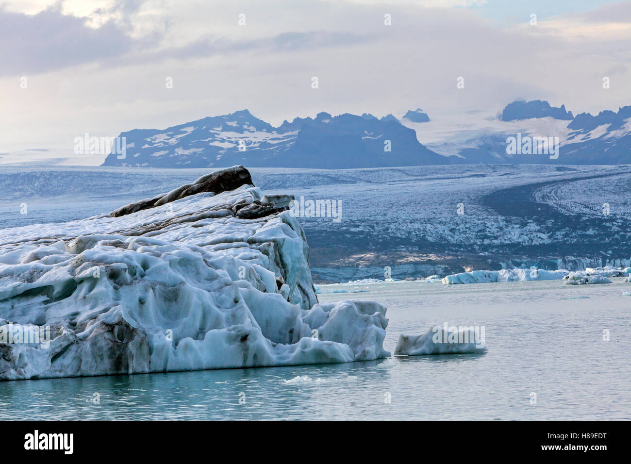 A view of a glacier in the Jokulsarion Glacier Lagoon in Iceland. - Stock Image