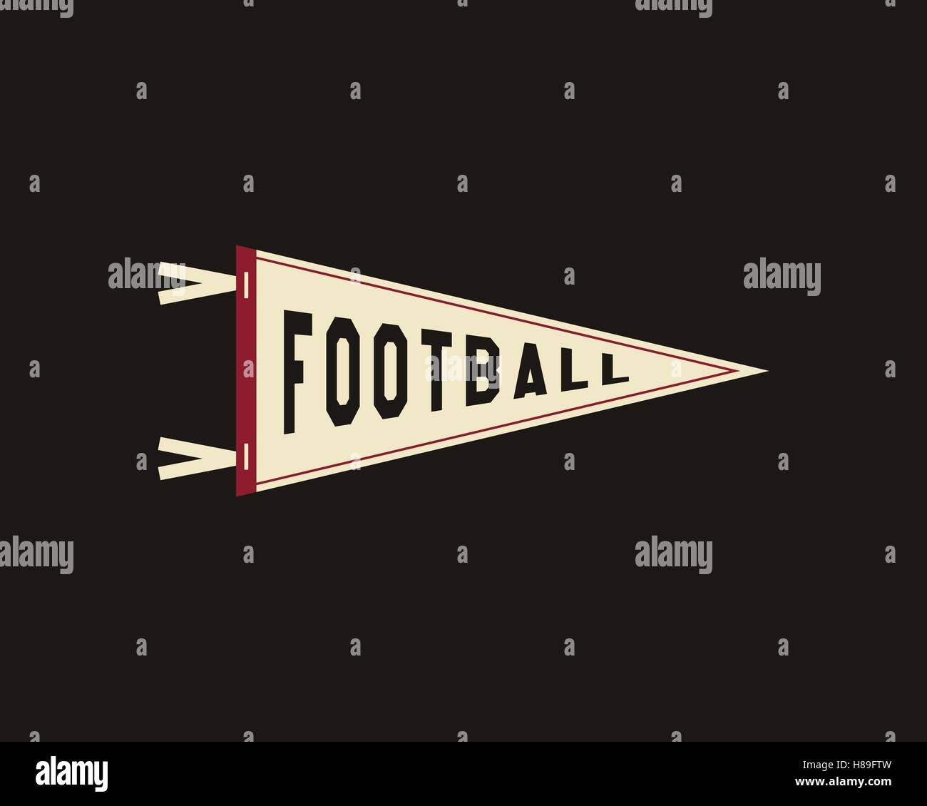 c5951a0dd College Football Pennant Banner Icon. Sport flag, training camp emblem.  University team label element. Vector sign.