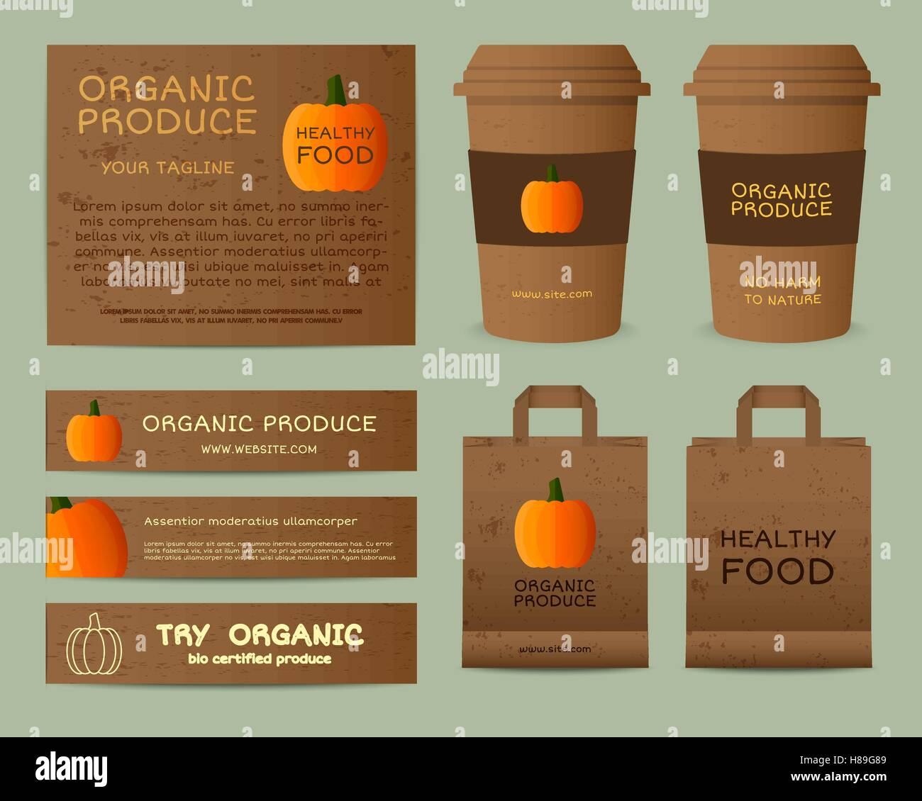 Natural business corporate identity design with pumpkin  Branding