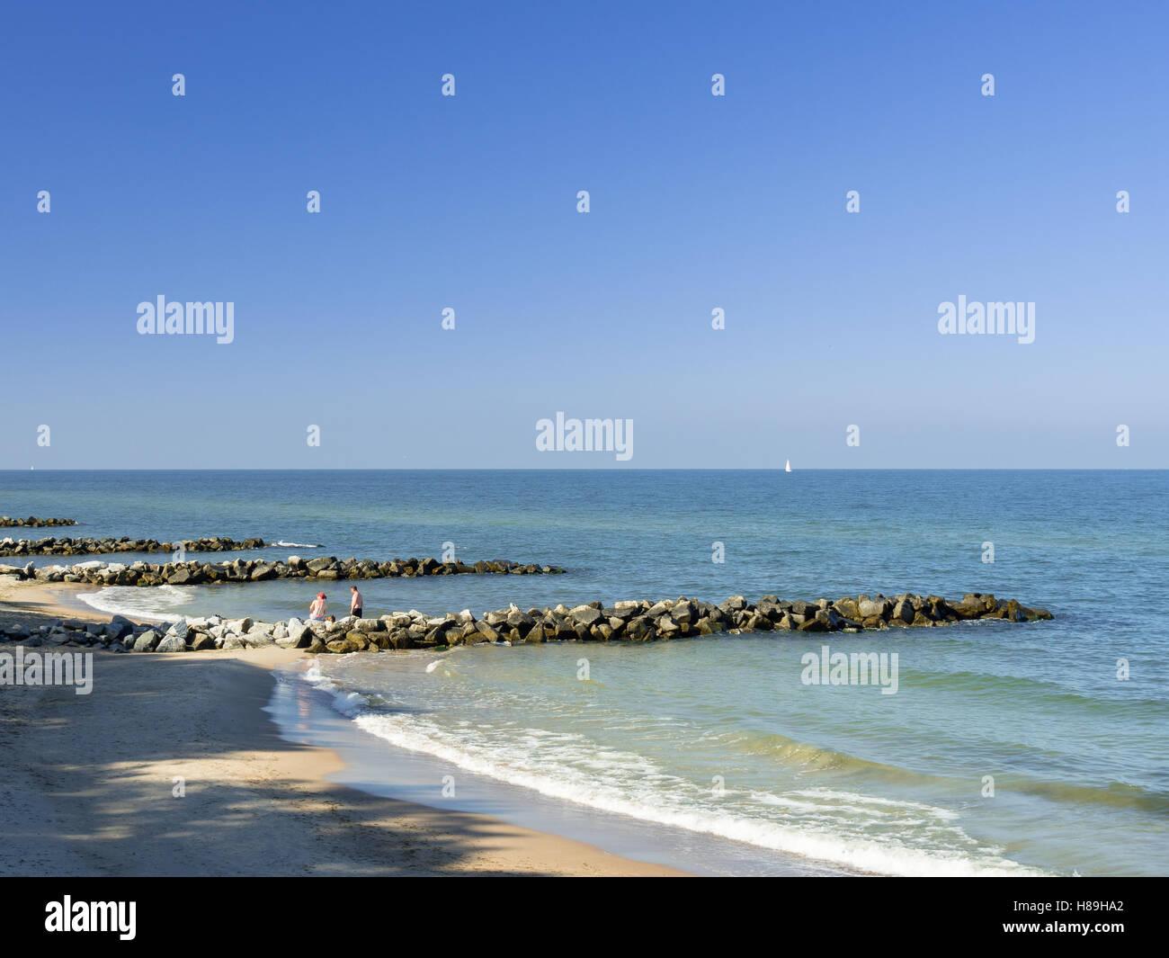 Stone breakwaters. - Stock Image
