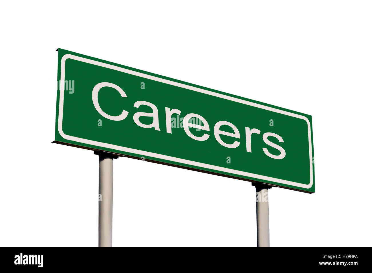 Careers Green Road Sign, Isolated White Frame - Stock Image