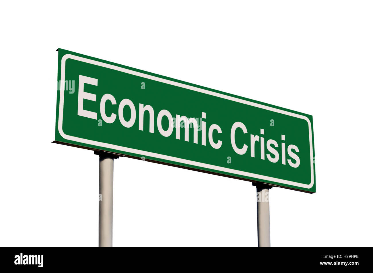 Economic Crisis Green Road Sign, Isolated White Frame - Stock Image