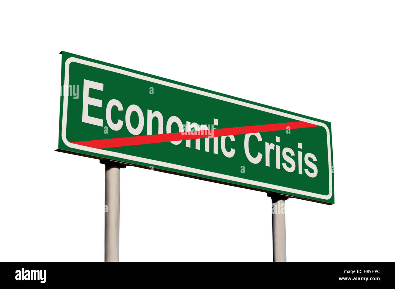 End Of Economic Crisis Green Road Sign, Isolated White Frame Closeup - Stock Image