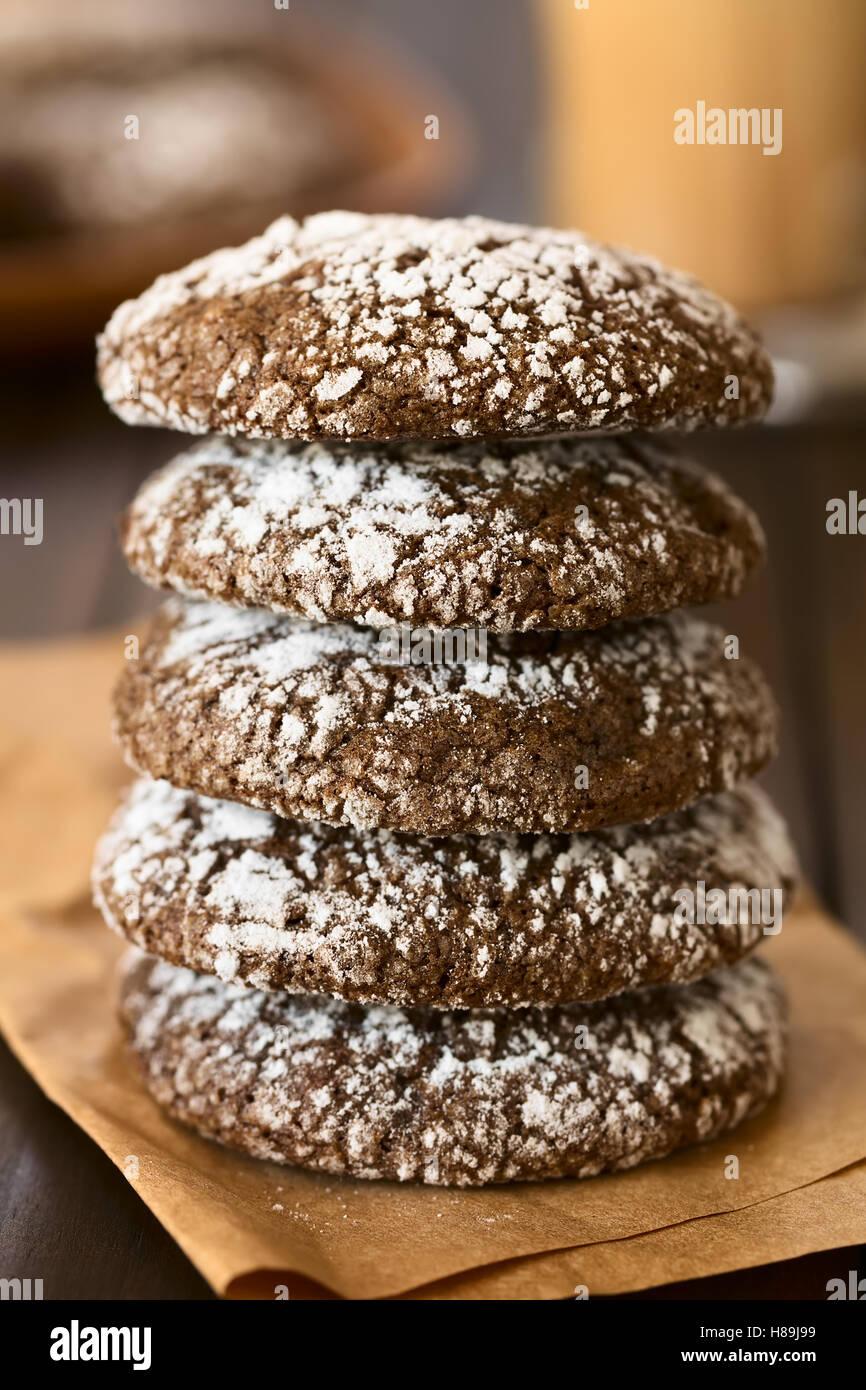 Chocolate Crinkle Cookies Traditional American Christmas Cookies