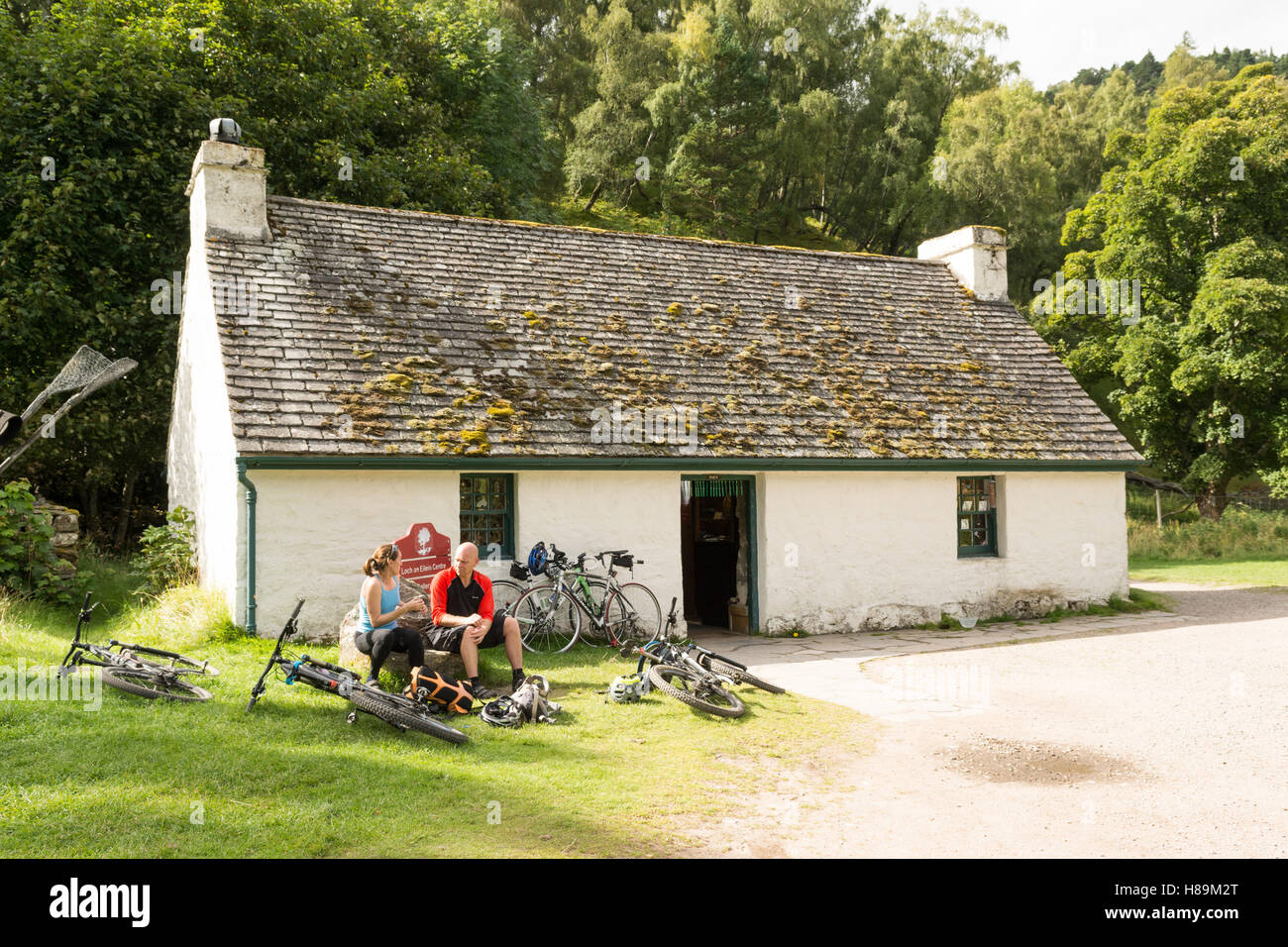 Loch an Eilein Centre - gallery and craft shop, Loch an Eilein, Rothiemurchus Estate, Aviemore, Scotland - Stock Image