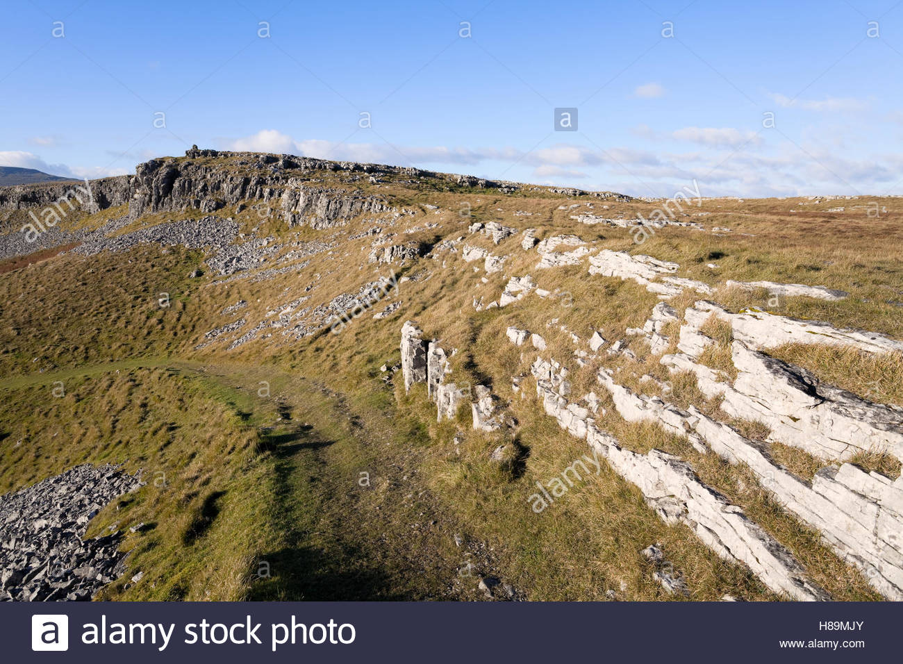 Moughton Scars at the head of Crummackdale Stock Photo