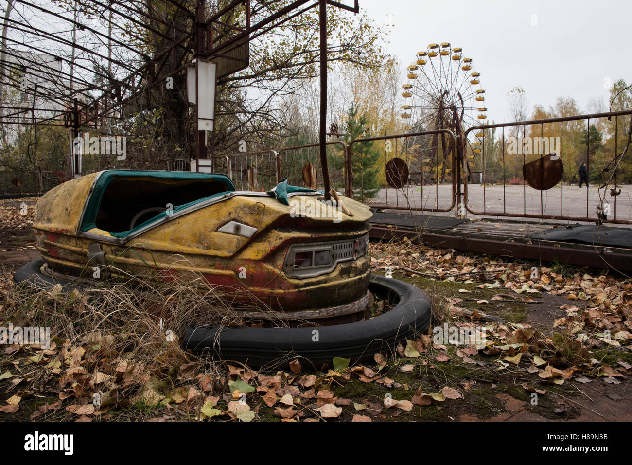 Abandoned amusement park in the ghost town Pripyat after the Chernobyl disaster 1986. Pripyat, Chernobyl Exclusion - Stock Image