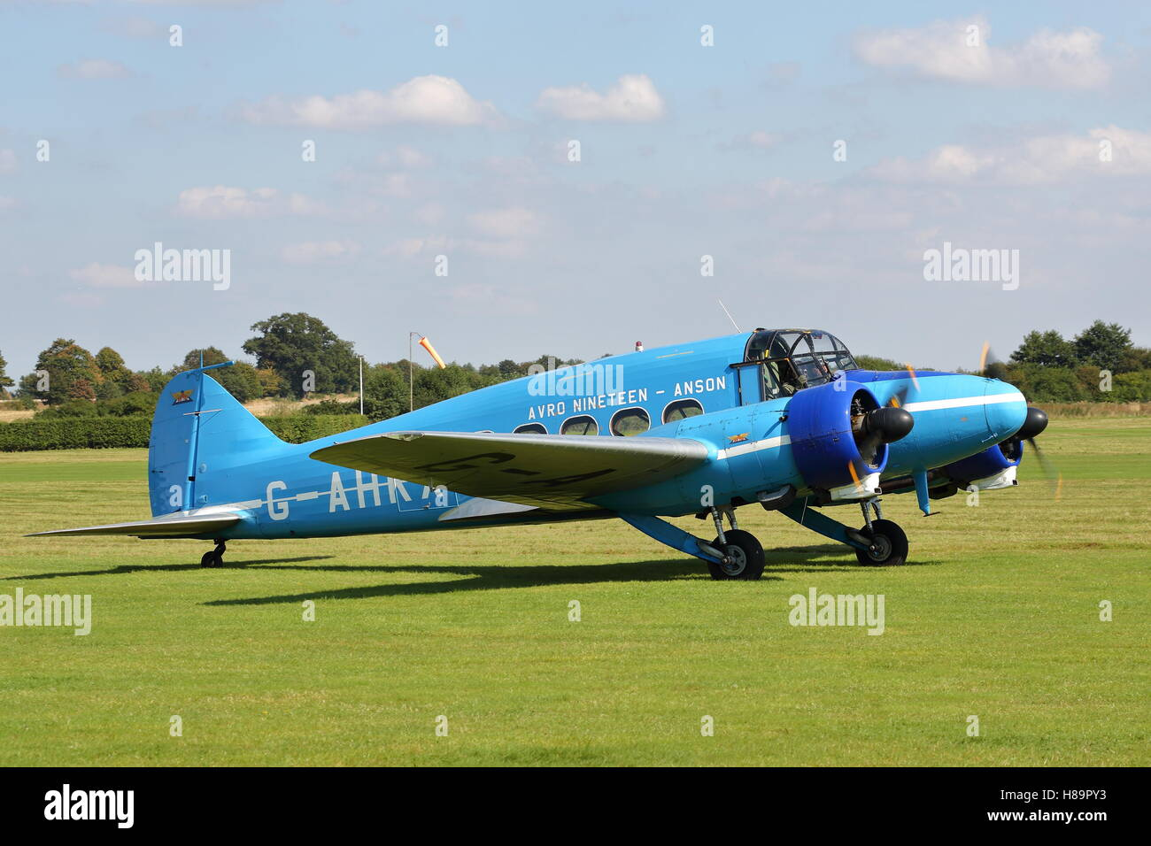 BAE Systems' Avro 652 Anson G-AHKX at an Air Show at Old Warden, UK - Stock Image