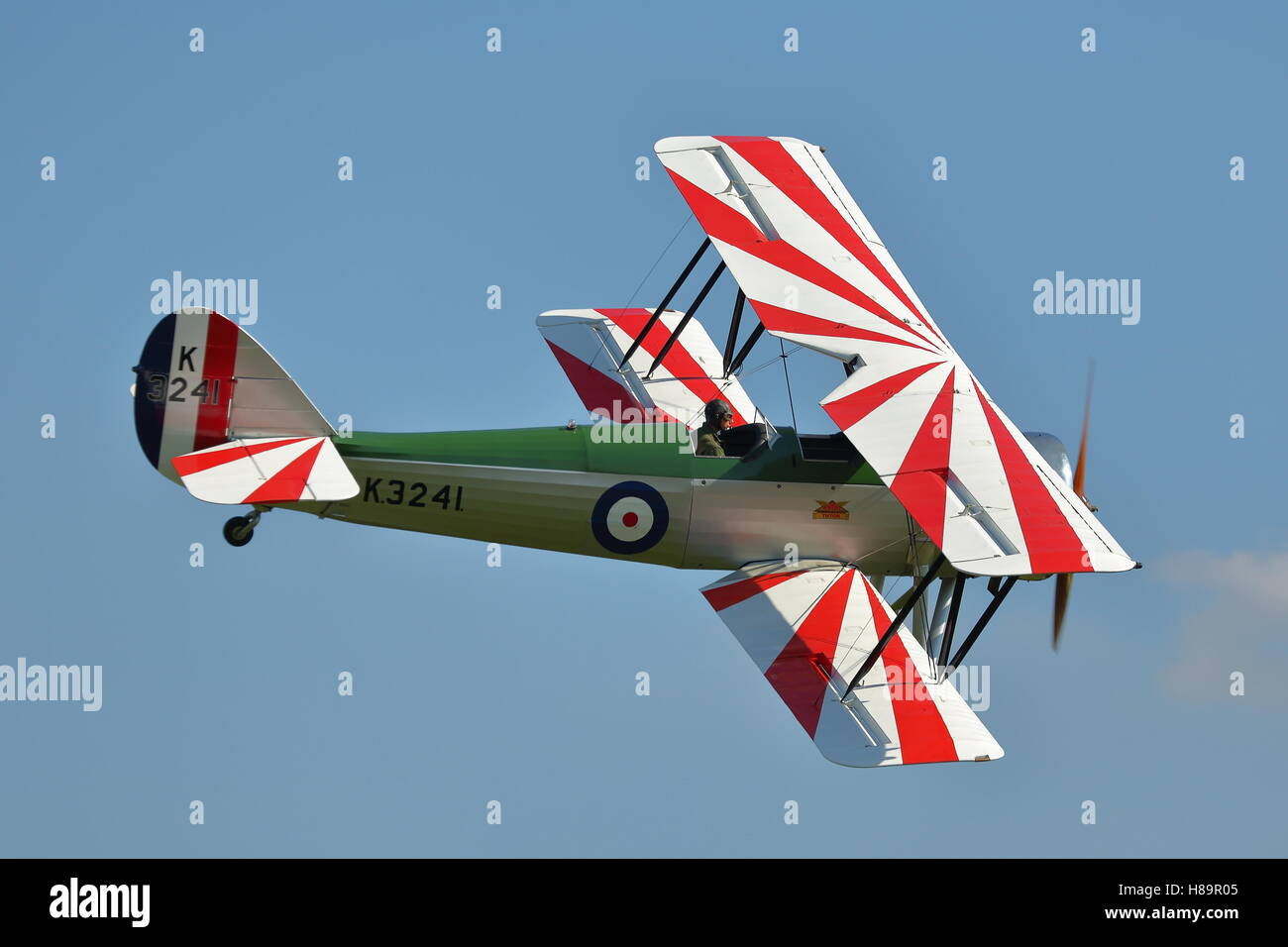 Shuttleworth Collection's Avro 621 Tutor G-AHSA at an Air Show at Old Warden, UK - Stock Image