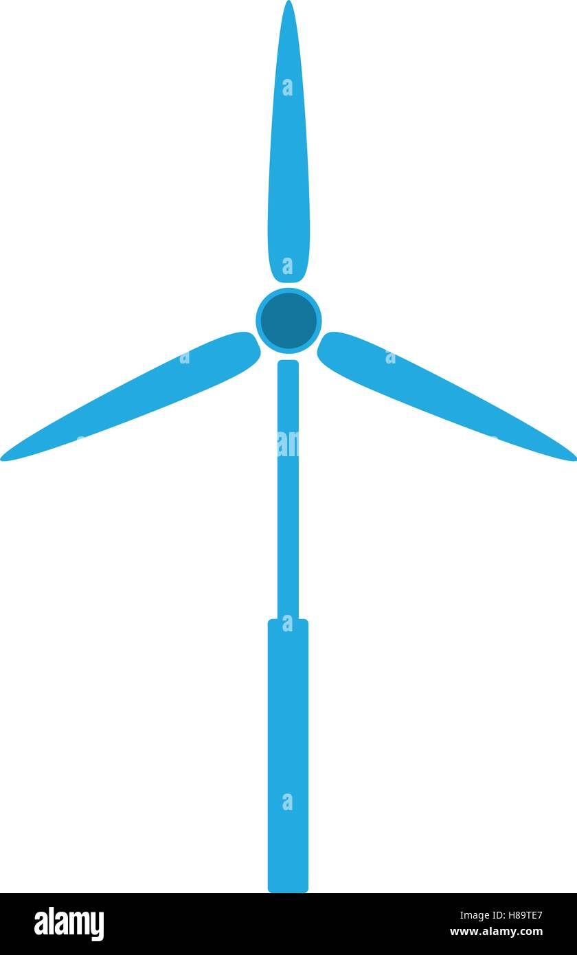 blue eolic energy wind over white background. vector illustration - Stock Vector