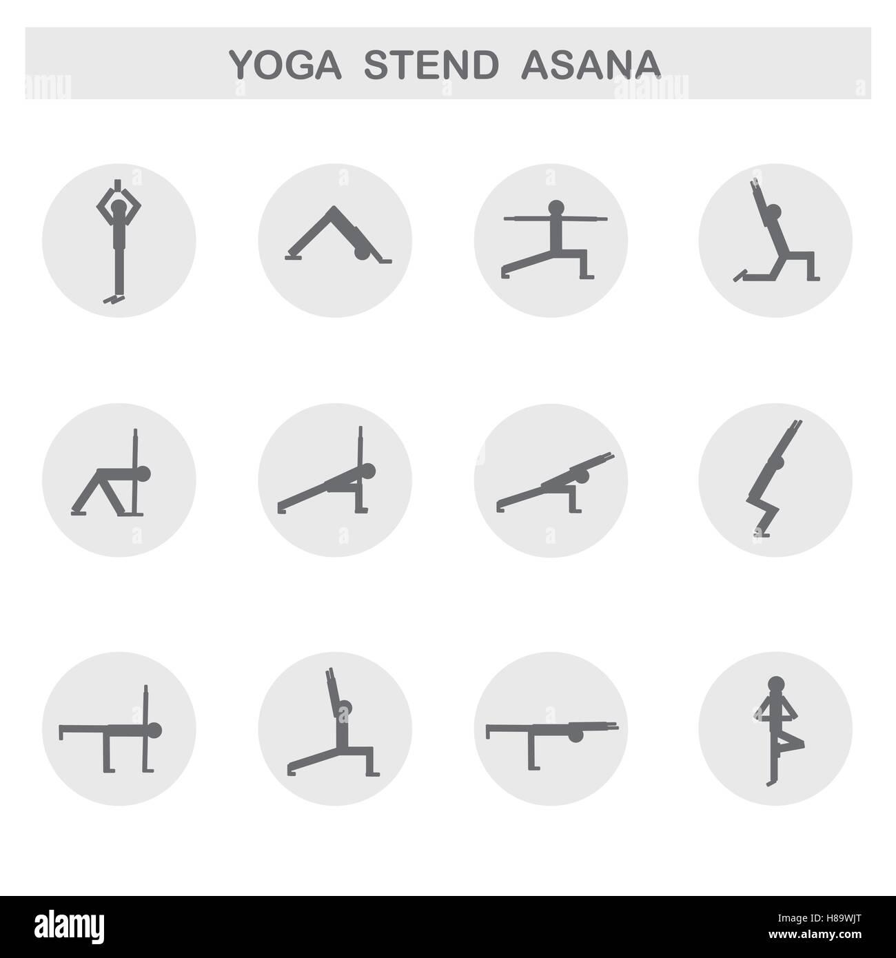Set of icons. Poses yoga asanas. Vector. - Stock Vector