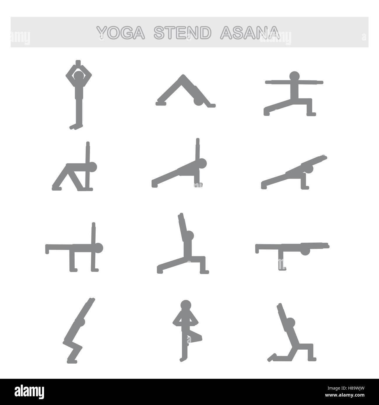 Set of icons. Poses yoga asanas. - Stock Vector