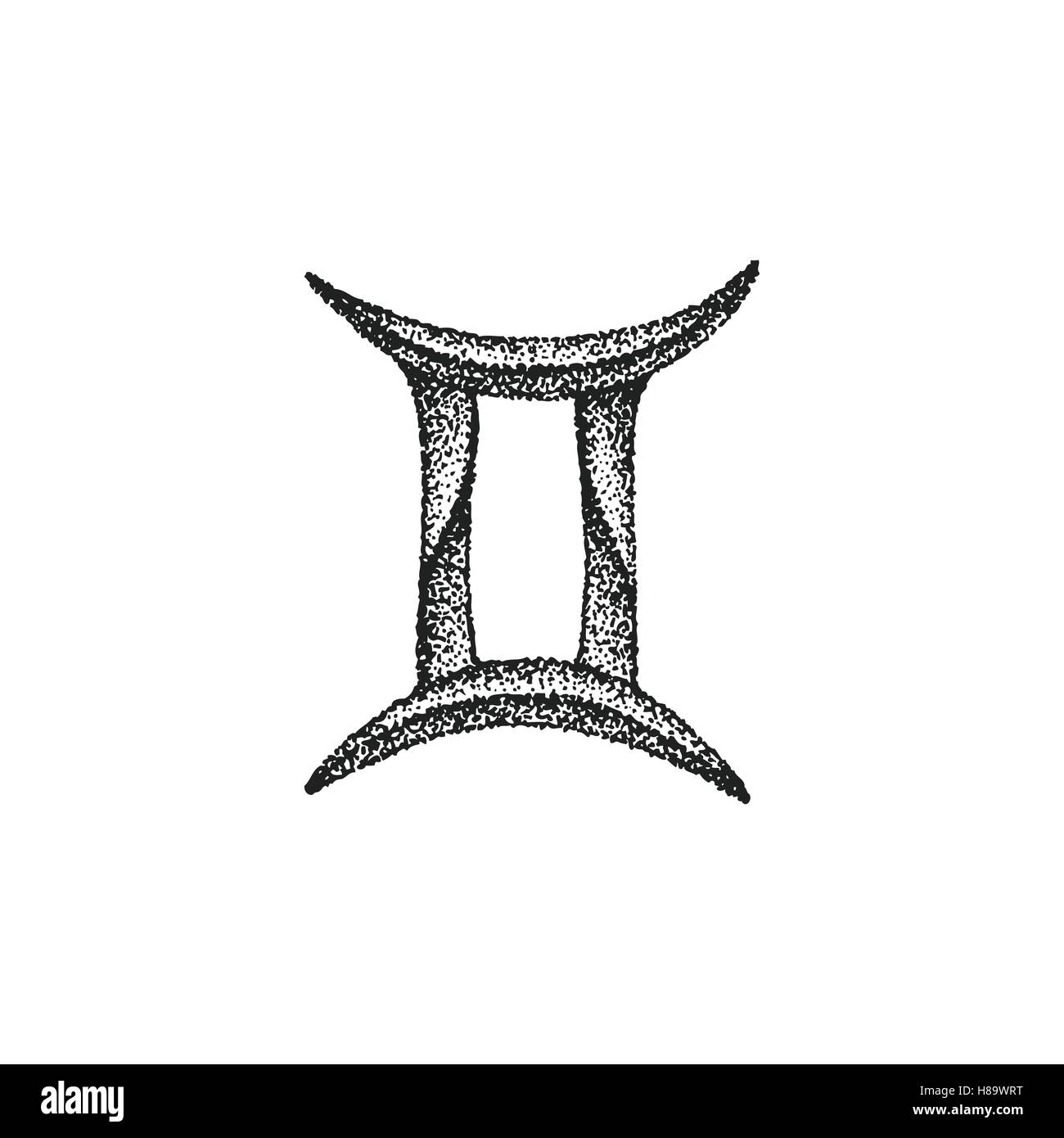 Vector black ink hand drawn dotwork tattoo style vintage design vector black ink hand drawn dotwork tattoo style vintage design gemini zodiac sign retro illustration isolated white background biocorpaavc Images