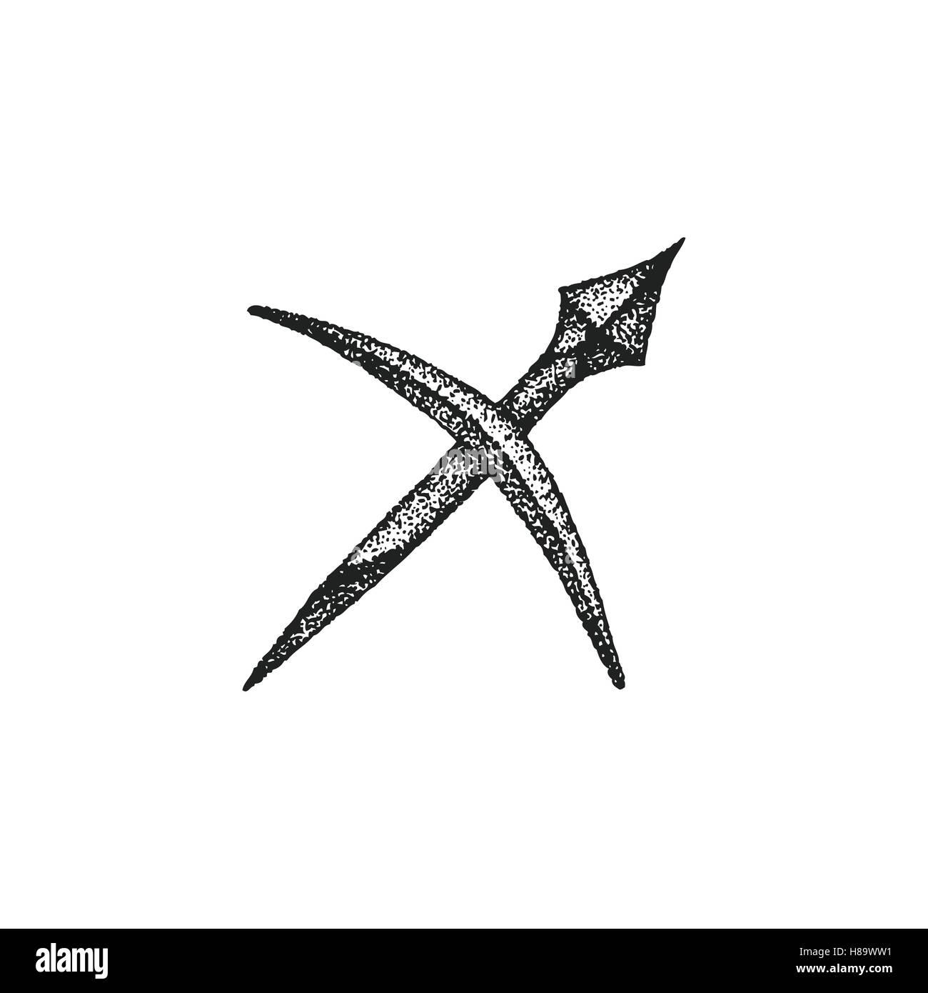 fb9e3419b113a vector black ink hand drawn dotwork tattoo style vintage design Sagittarius  zodiac sign retro illustration isolated white backgr