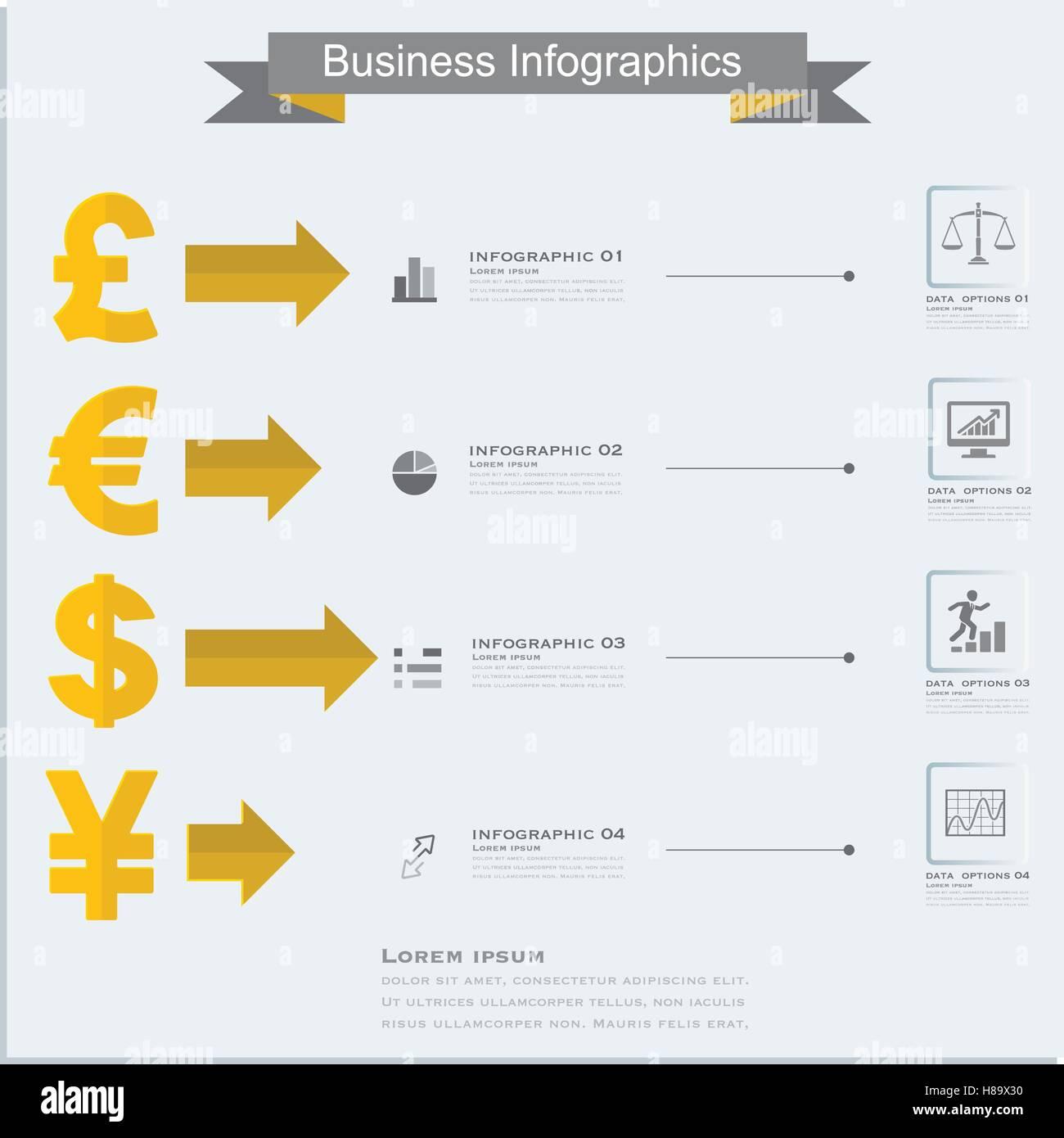 Finance Money Infographics Currency Symbols Dollar Euro Pound