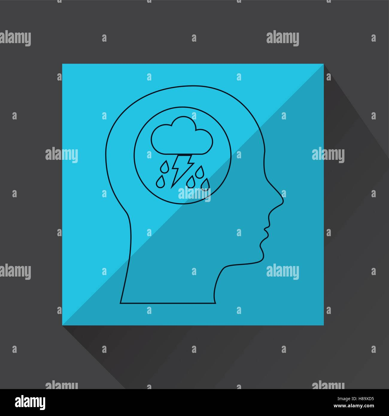 symbol weather icon. silhouette head and rain lightning vector illustration eps 10 - Stock Vector