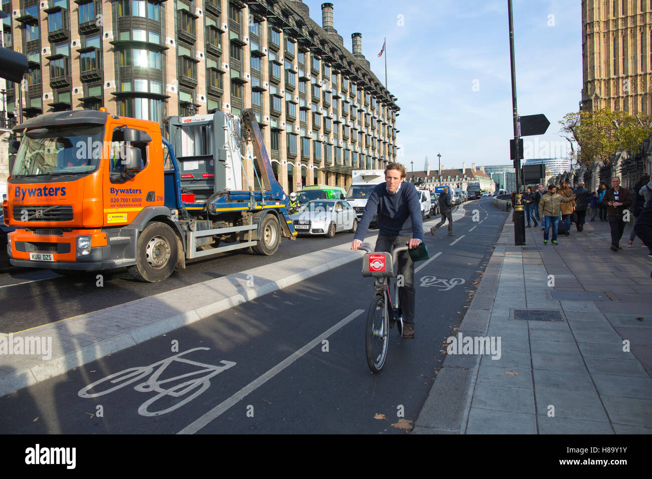Segregated cycle lane, on the cycle route across Westminster Bridge, part of the major safety improvements for London - Stock Image