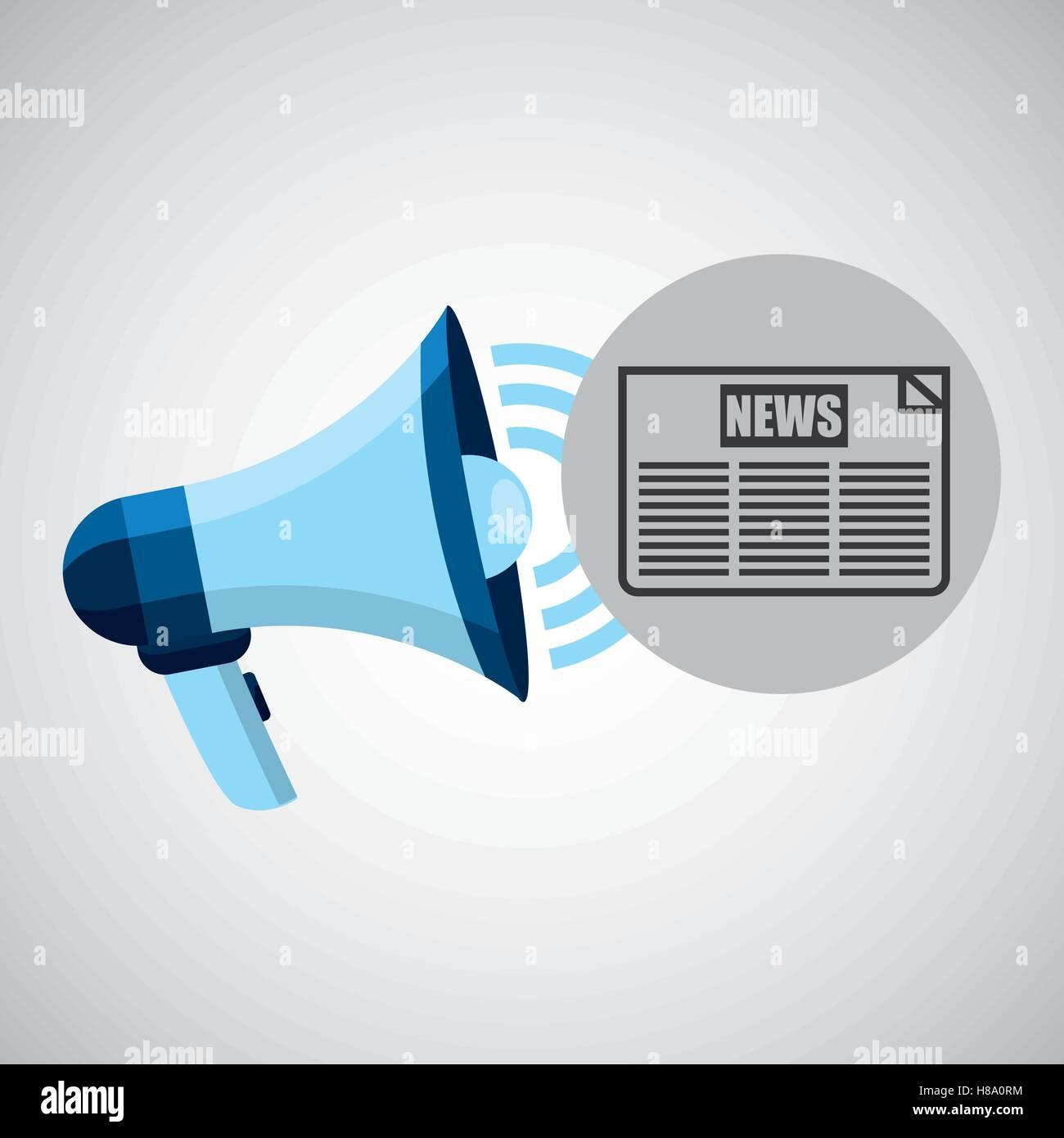 megaphone concept news headline design vector illustration eps 10 - Stock Image