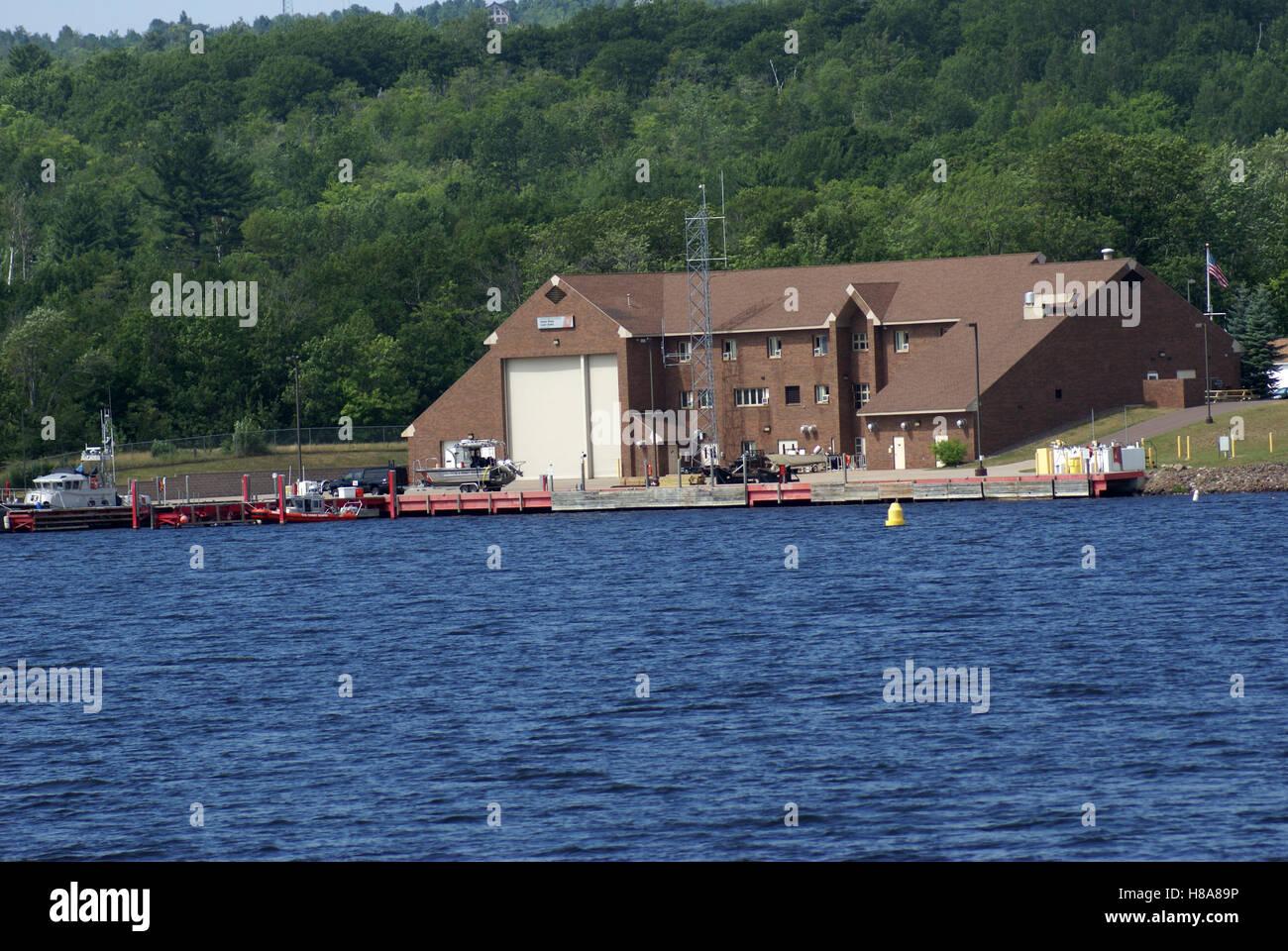 Coast Guard Station on the shore of Portage Lake - Stock Image