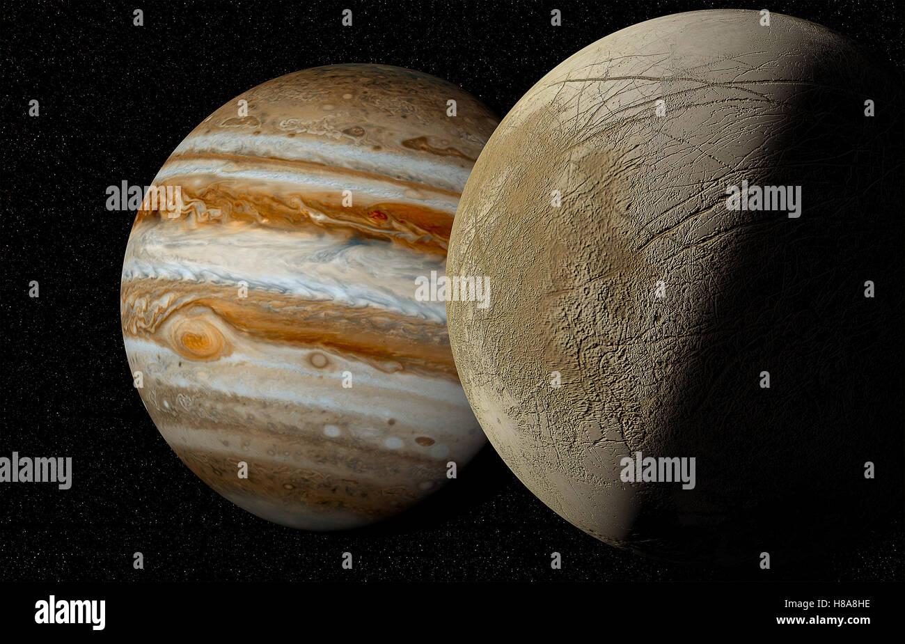 jupiter and moon Europa - Stock Image