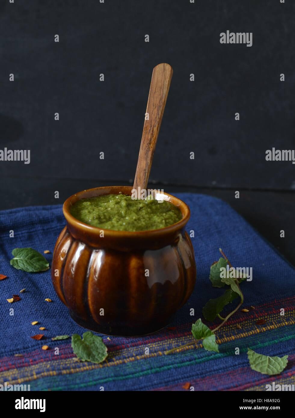 Green mint chutney - Stock Image