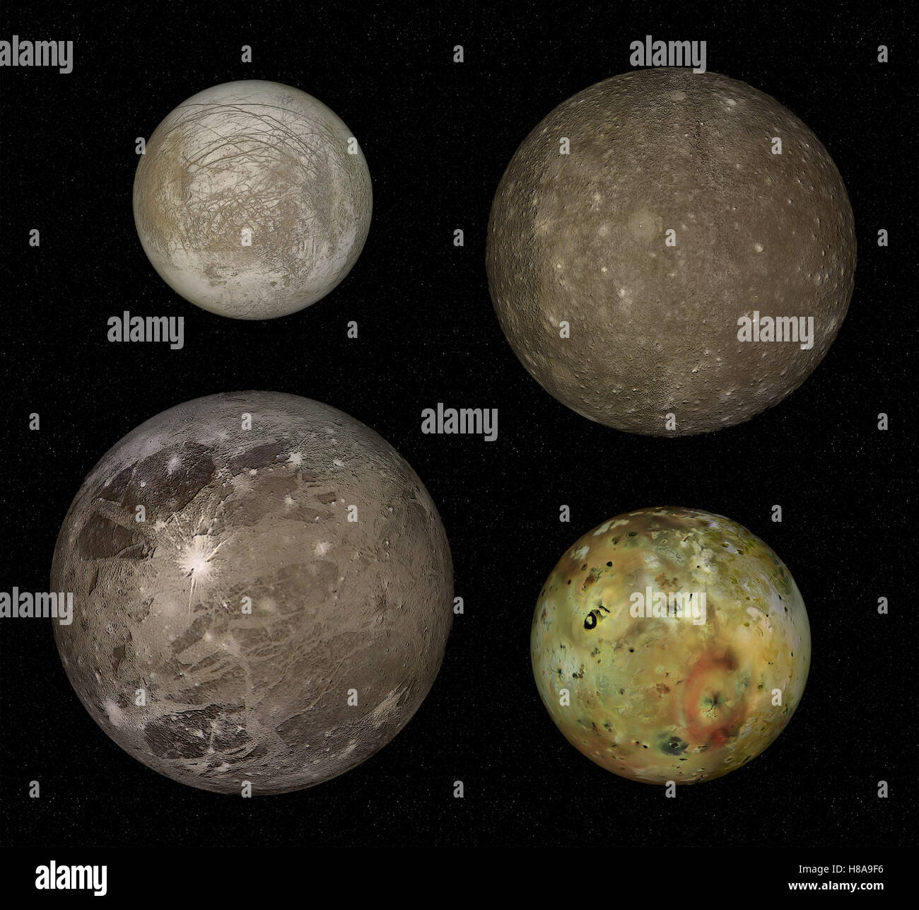 four biggest moons of Jupiter, real comparison, on black background - Stock Image