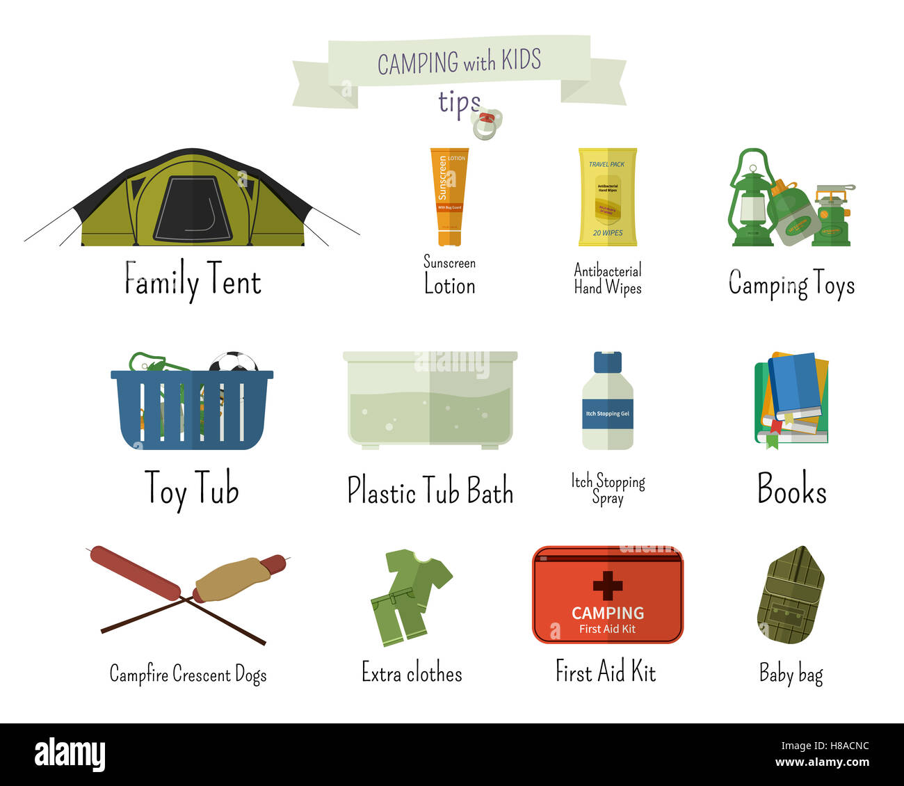 Camping With Kids Tips Set Of Flat Adventure Traveling Elements