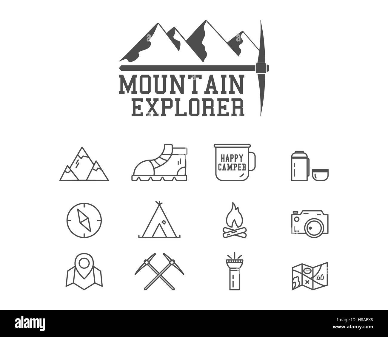 camping mountain explorer camp badge logo template travel hiking