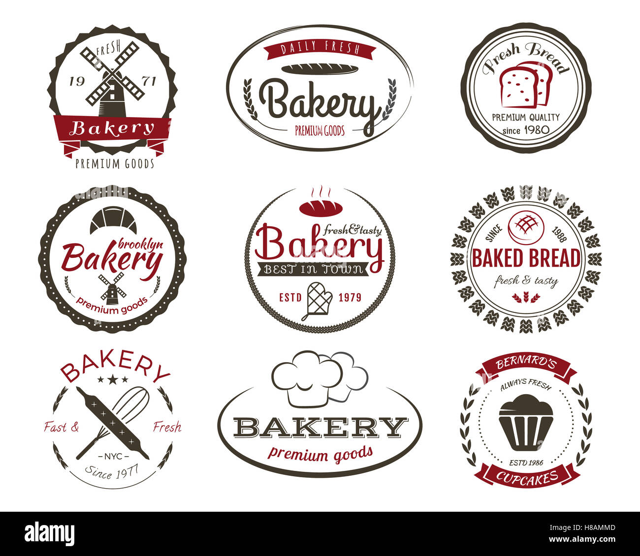 Set of bakery labels, bake badges and design elements, sweets Stock ...