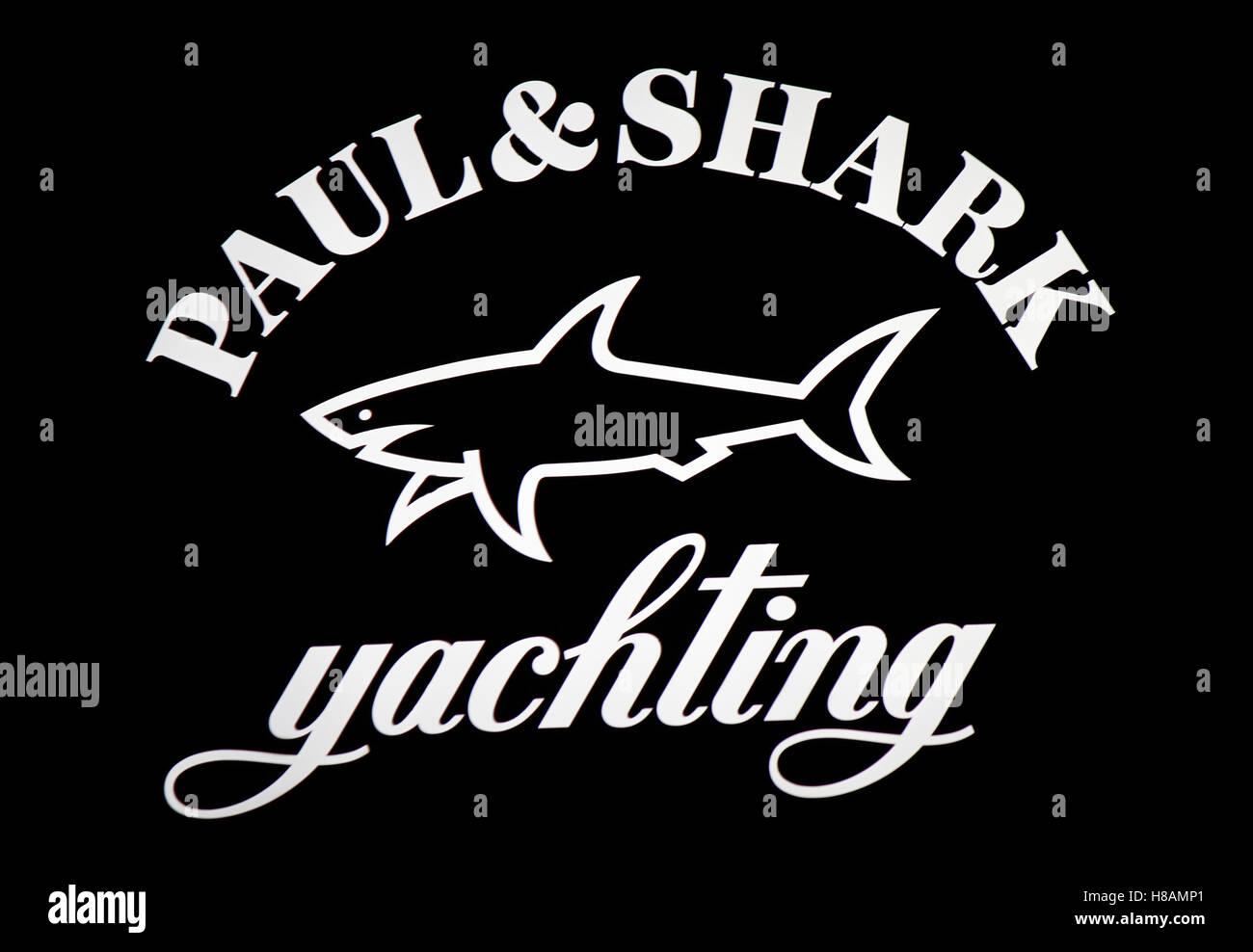 das Logo der Marke 'Paul and Shark Yachting', Berlin. - Stock Image