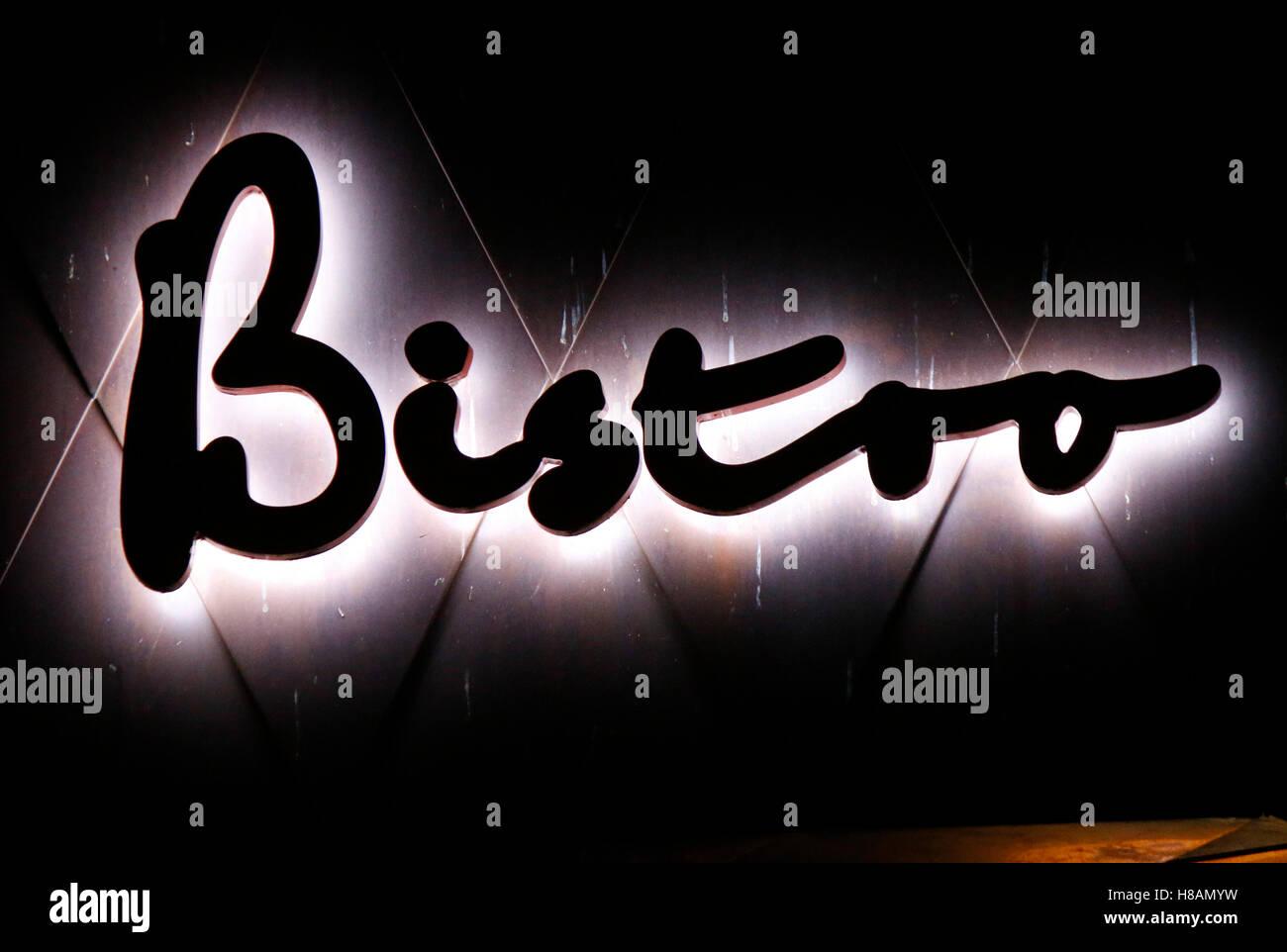 das Logo der Marke 'Bistro', Berlin. - Stock Image
