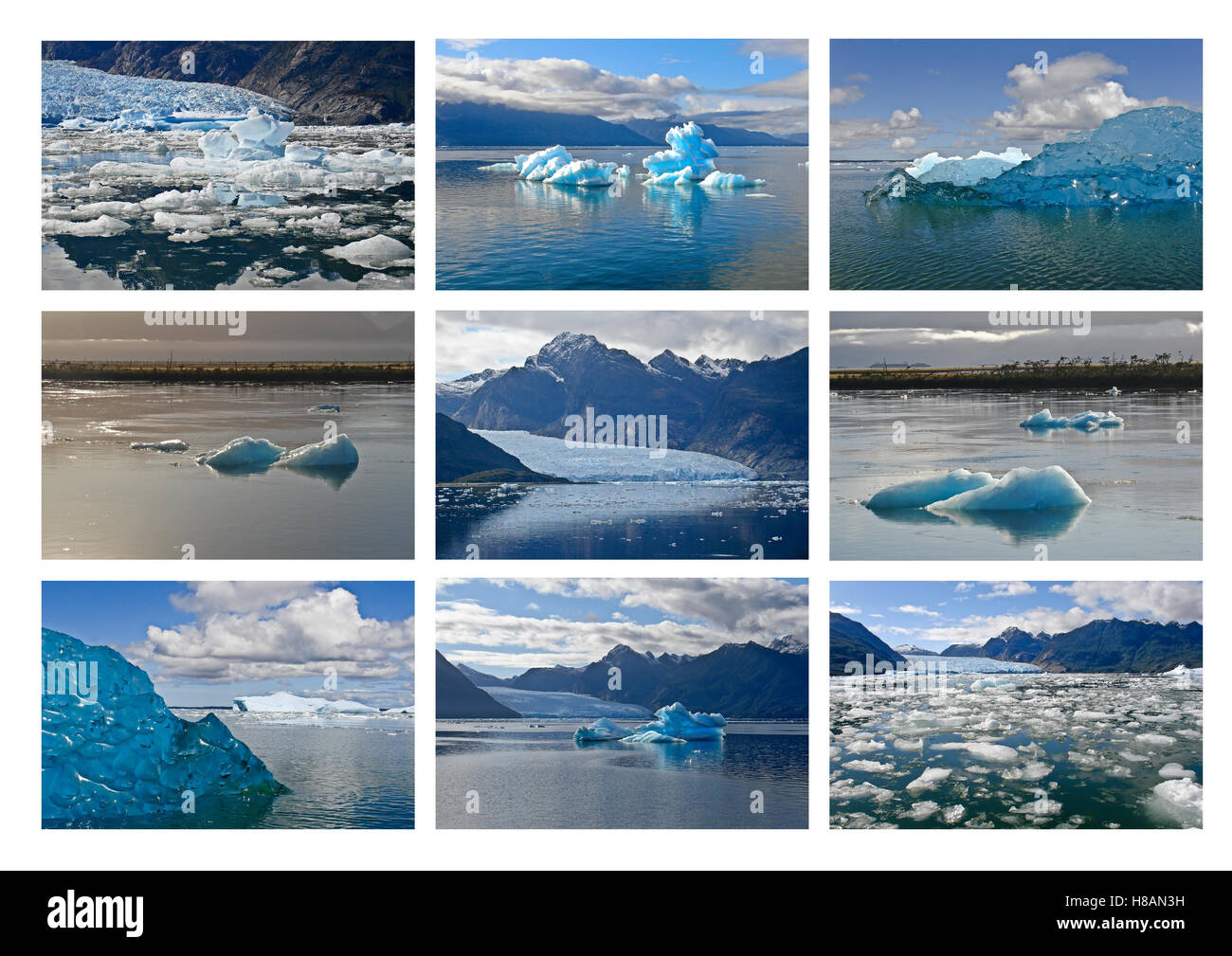 Icebergs from the San Rafael Glacier in Patagonia, Chile - Stock Image