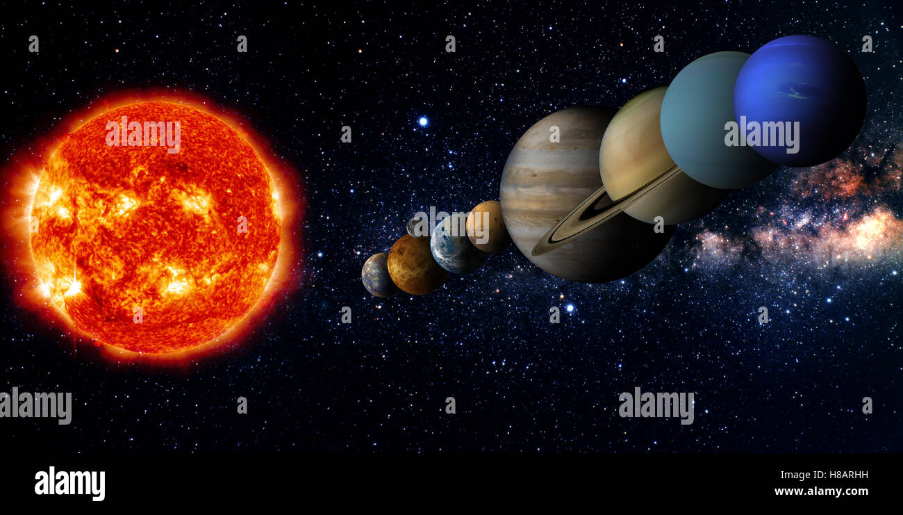 The sun and eight planets of our system orbiting - Stock Image