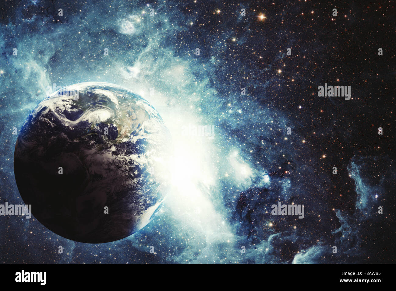 Space background with blue light around the planet Stock Photo