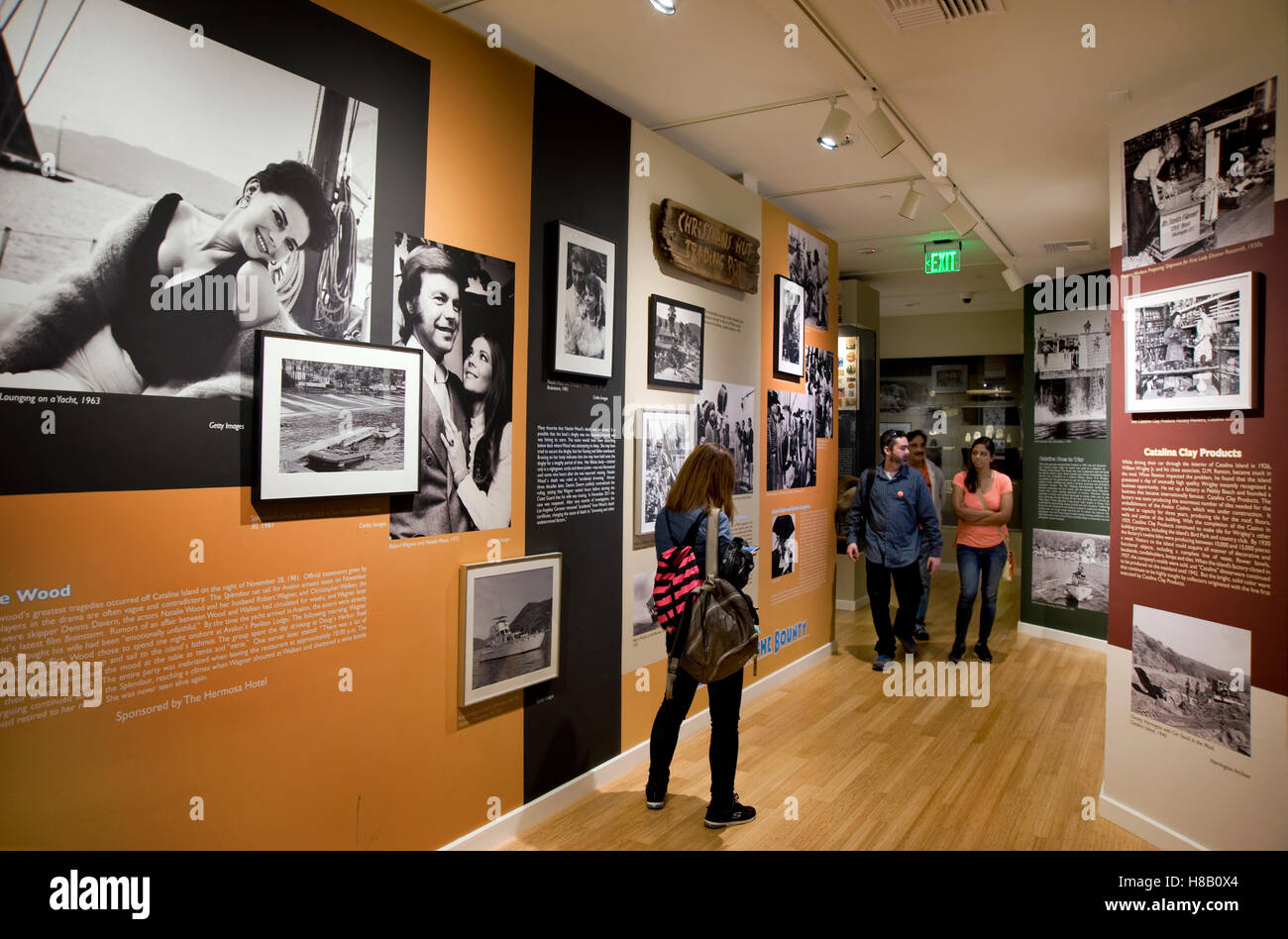 Display concerning the mysterious death of actress Natalie Wood at the Catalina Island Museum - Stock Image
